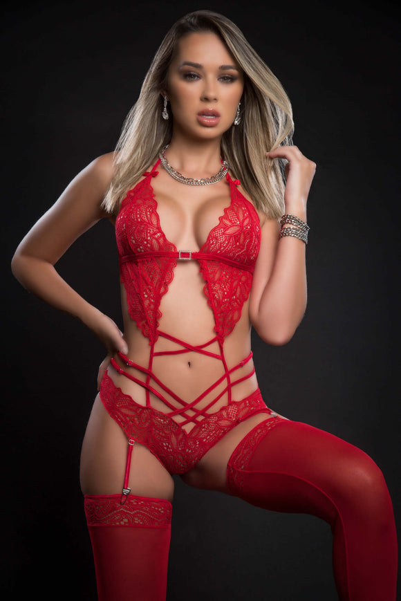 2pc Scalloped Lace Teddy With Garter and Stockings One Size - Candy Red GWD-BL2088RD