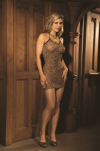 Leopard Slip Dress - Queen Size EM-1496Q