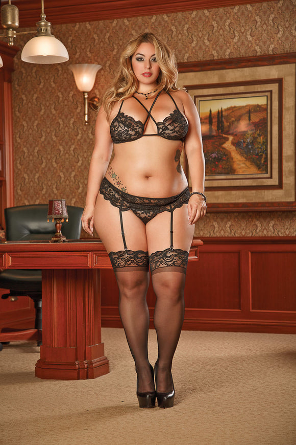 Bra, Garter and G-String Set 1x-3x - Black MS-B950BLK-2XL