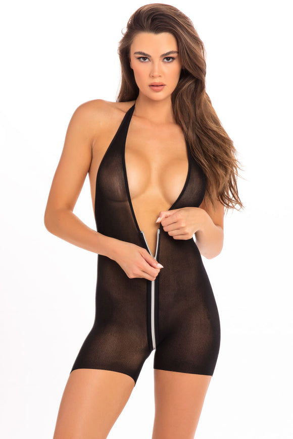 Hot Short Zip Bodysuit - Black - M/l RR-7079BLKML