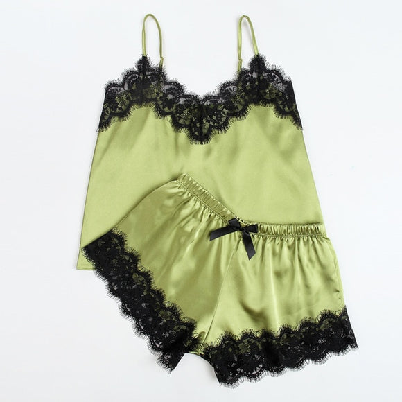 Satin Pajama Set Black Lace V-Neck  Sleeveless Cami Top and Shorts