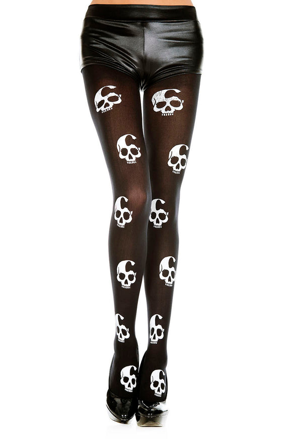 Skull Print Tights - One Size - Black / White ML-37349BLKWHT