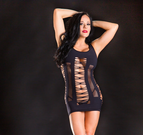 Spaghetti String Dress - One Size - Black BH-69372SD-BK