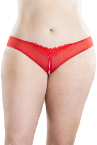 Crotchless Thong With Pearls and Venise Detail - Red - 3x4x OH-2066X-RD3X4X