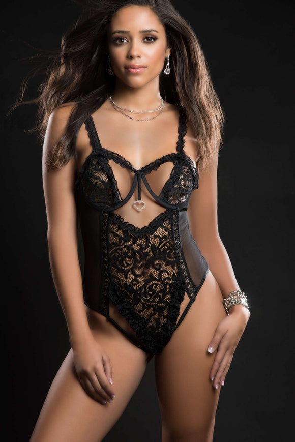 1pc Queen of Hearts Laced Teddy With Open Rear View Half Open Cups - One Size - Blackout GWD-BL2085BLK