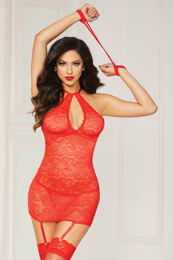 Lace Halter Chemise  - One Size - Red STM-10844P-RED