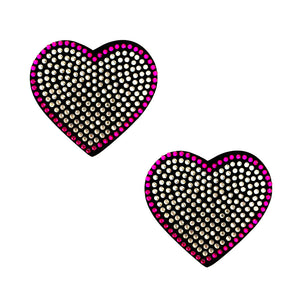 Heart 'N Soul Pink and Clear Iridescent Crystal Heart Reusable Silicone Nipztix NN-BN-HRT-012