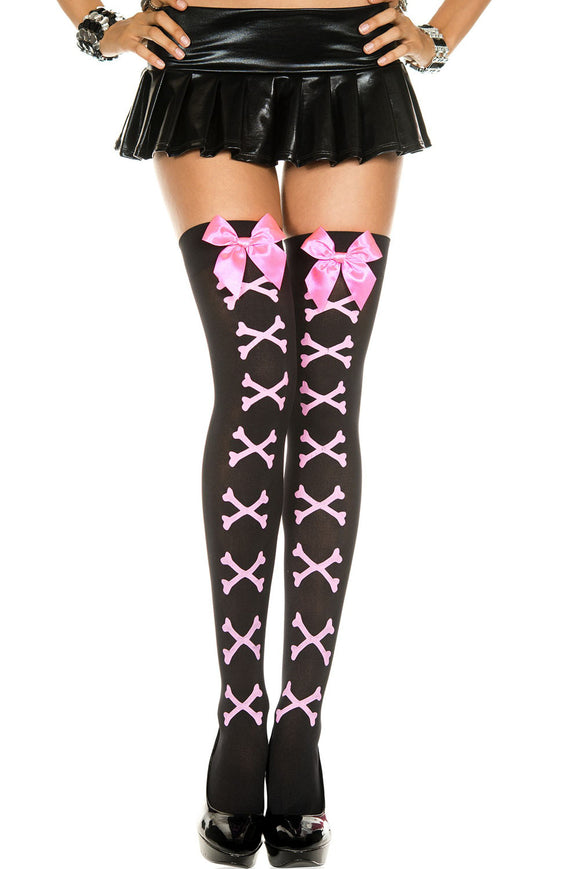 Cross Bone and Satin Bow Opaque Thigh Hi - One Size - Black / Pink ML-4550BLKPNK