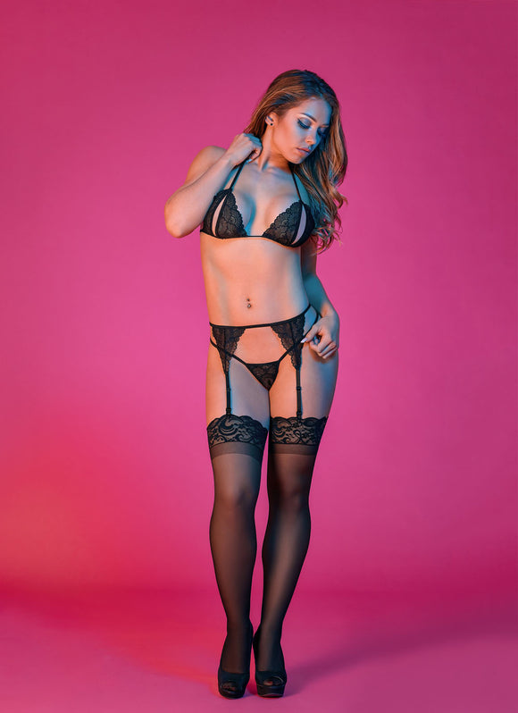 Sexy Time Peek-a-Boo Garter and G-String Set - Black - L/xl MS-M200BLKLRG