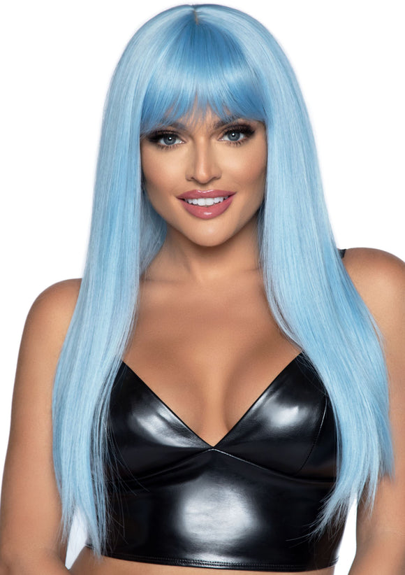 24 Inch Long Straight Bang Wig Blue - VIP NovelTease