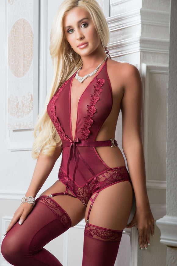 2pc Embroidered Plunging Halter Teddy - One Size  Magenta Purple GWD-B2052PUR
