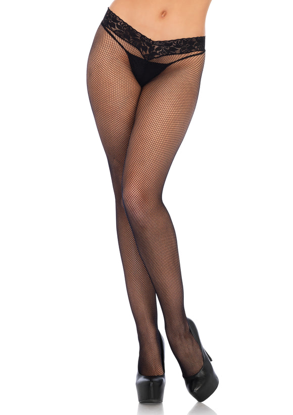 Lace Top Micro Net Tights - One Size - Black LA-9766