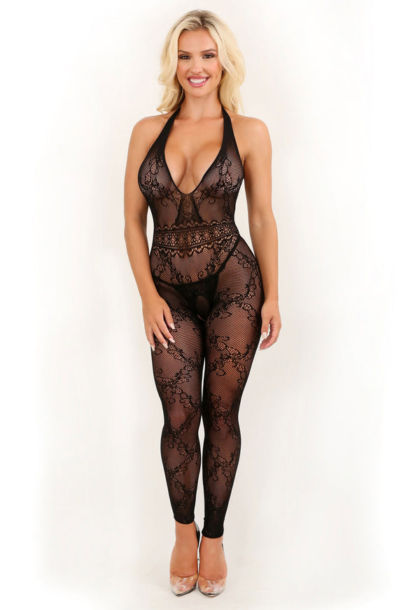 Good as Hell Halter Lace Footless Bodystocking - One Size FL-SF946-OS-B