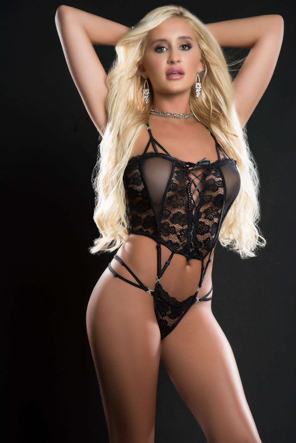 1pc Butterfly Teddy With Daring Lace -Up Front  Thong and See-Through Detail - One Size - Blackout GWD-BL2086BLK