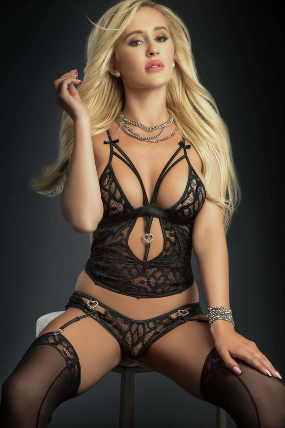 3pc Plunge Cami Top and Brazilian Garter Panty and Stockings - One Size - Black GWD-BL2005BK