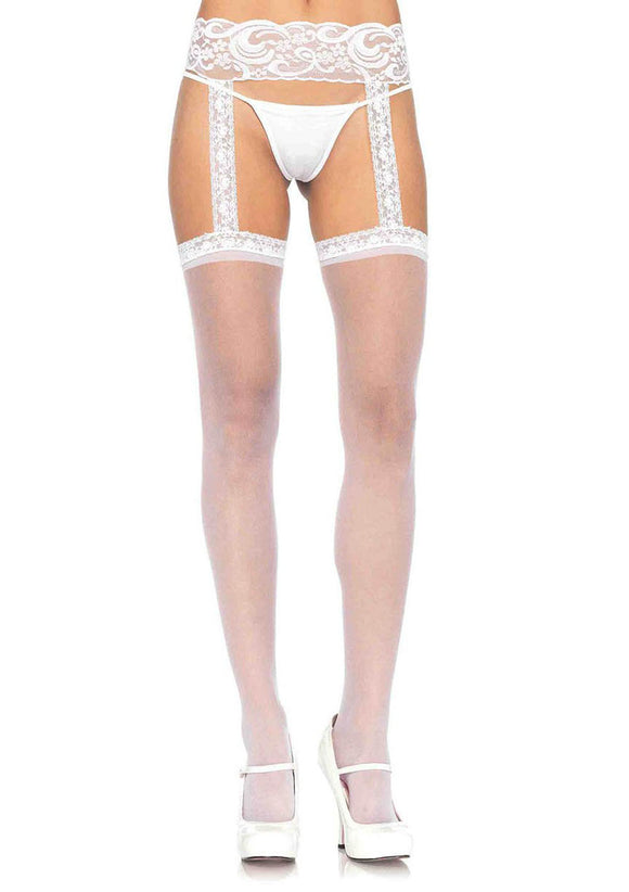 Sheer Thigh Highs - One Size - White LA-1767