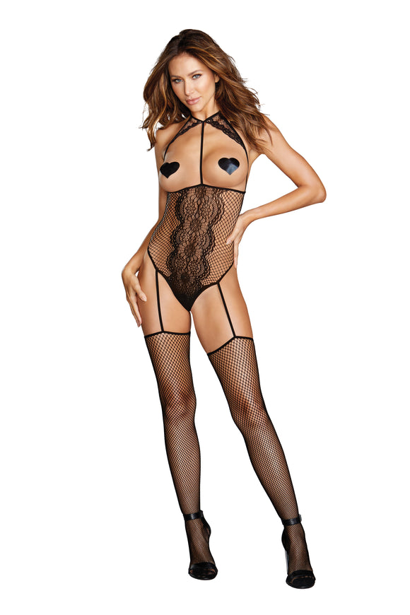 Teddy Bodystocking - One Size - Black DG-0354BLKOS
