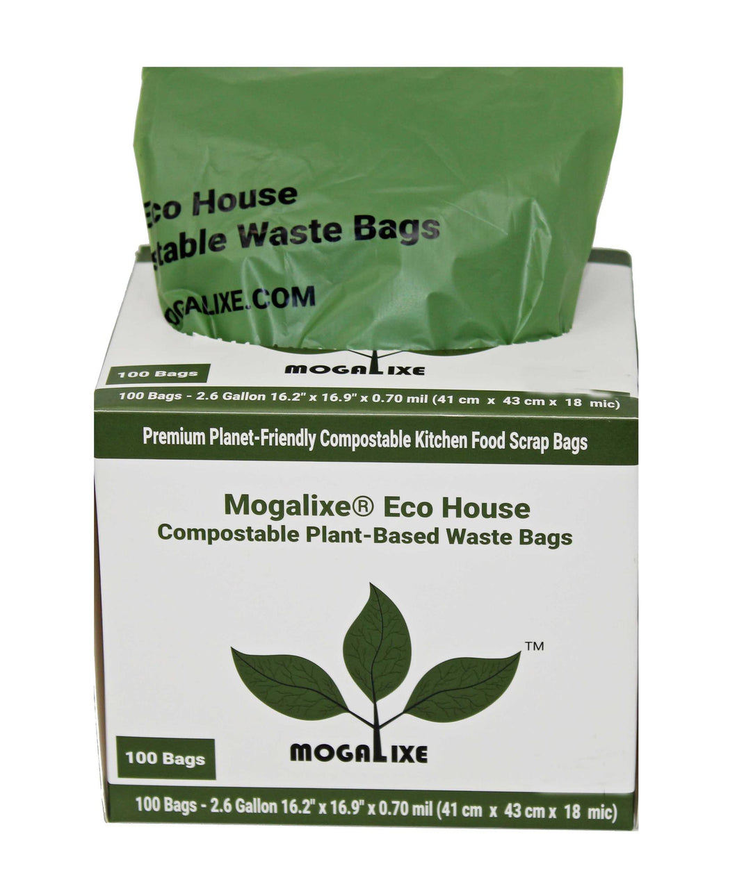 Biodegradable & Compostable Kitchen Bags - 2.6-3 gal, 100 bags