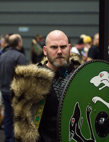 Viking cosplayer with beard at ComicCon Liverpool beardbase