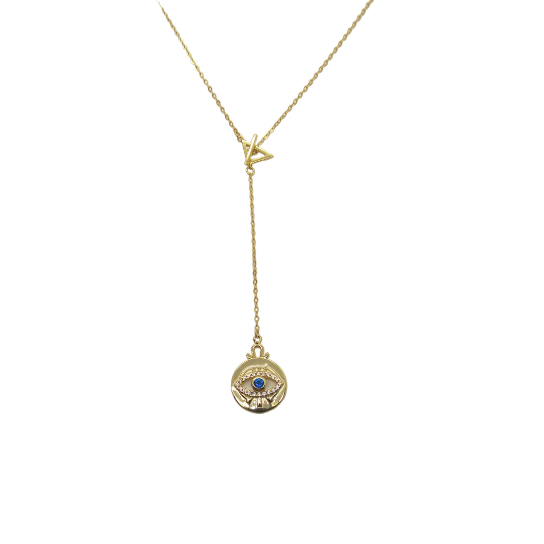 Gold Eye of Protection Lariat Necklace