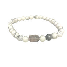 Load image into Gallery viewer, Howlite Power Bracelet with Crystal