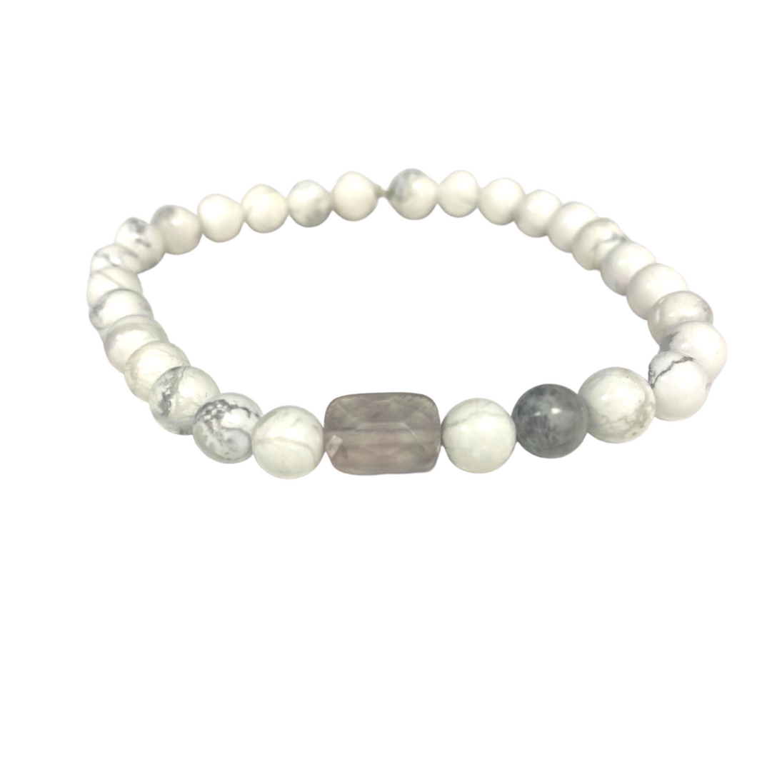 Howlite Power Bracelet with Crystal