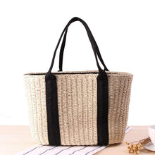 Load image into Gallery viewer, Drawstring Straw Tote Bag