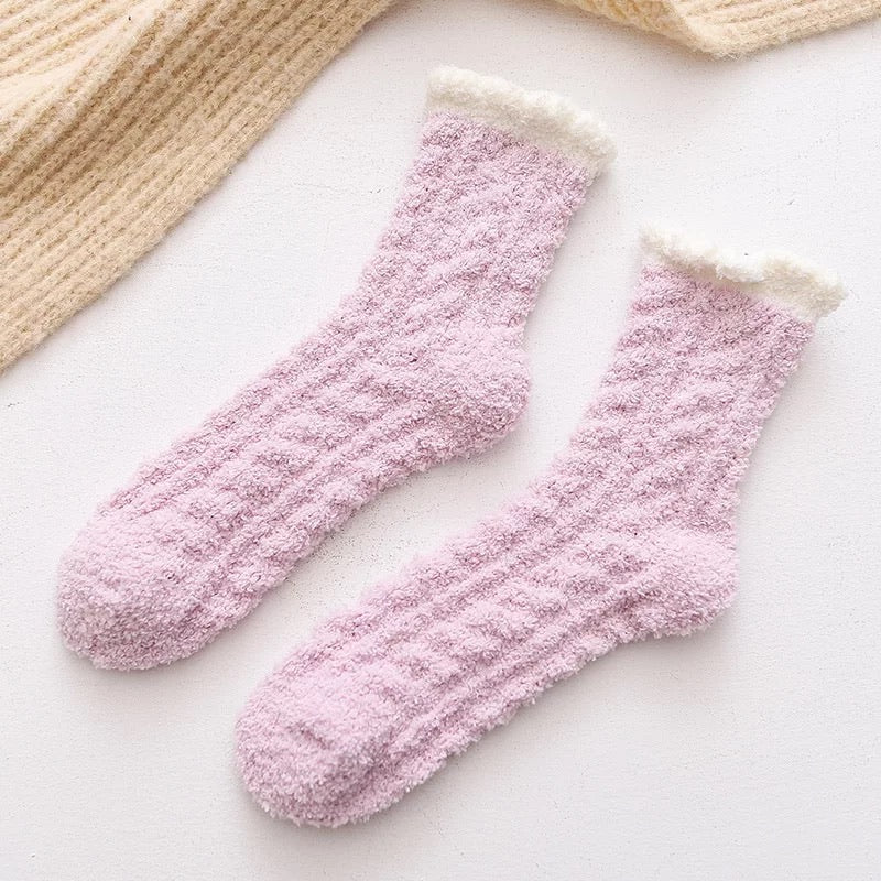 Cozy Socks Purple and Cream