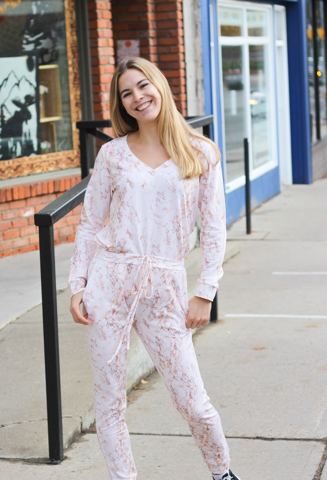 Friendly Fox Bamboo Loungewear Pants - Pink Marble