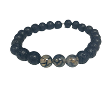 Load image into Gallery viewer, Three Stone Lava Power Bracelet