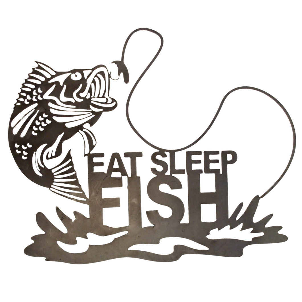 Eat, Sleep, Fish' Metal Sign