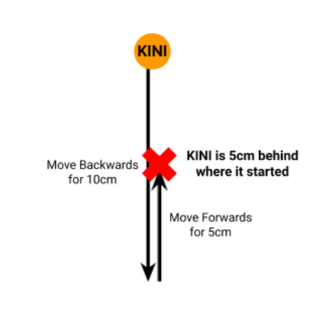 Drawing of Kini moving backwards 10 cm then forwards 5 cm.