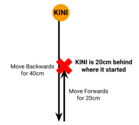 Drawing of Kini's movements; first moving backwards for 40cm, then moving forwards for 20cm. It is shown that Kini ends up 20cm behind where it started.