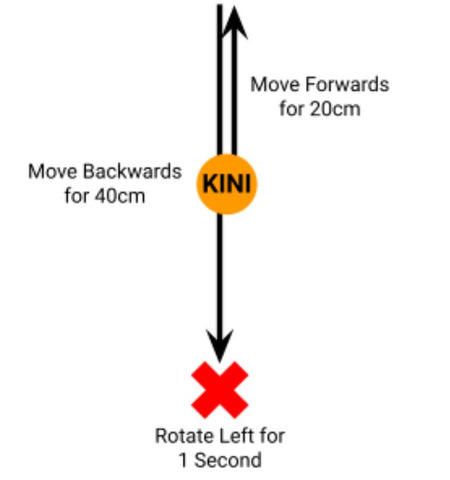 Drawing of Kini's movements; first moving forwards for 20cm, then moving backwards for 40cm, and finally rotating left for one second. It is shown that Kini ends up 20cm behind where it started.