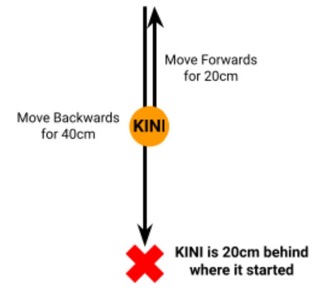 Drawing of Kini's movements; first moving forwards for 20cm, then moving backwards for 40cm. It is shown that Kini ends up 20cm behind where it started.