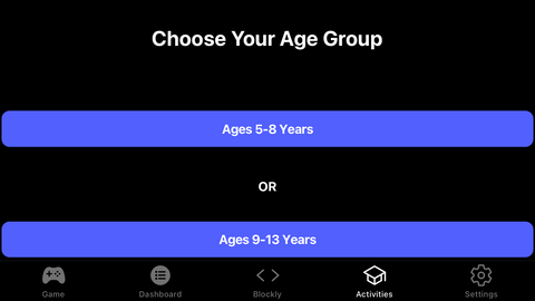 Age range selection in the Activities Tab.