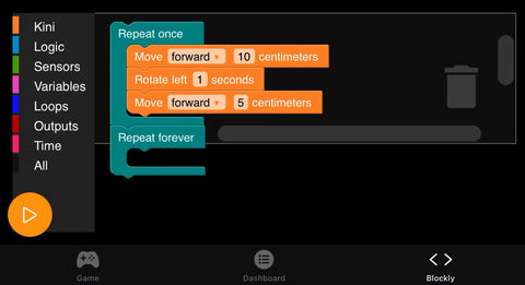 Block coding that instructs KINI to move forwards for 10 centimeters, the rotate left for one second, and finally move forwards for 5 centimeters.