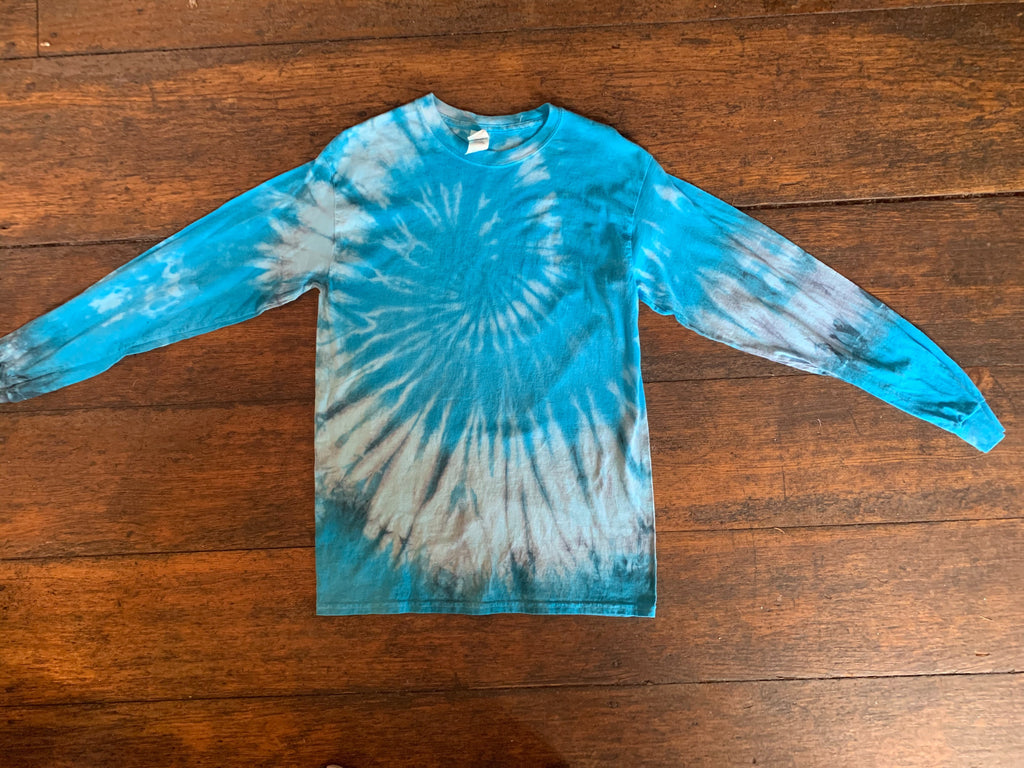 Turquoise/Silver Tie-Dye Long Sleeve Shirt