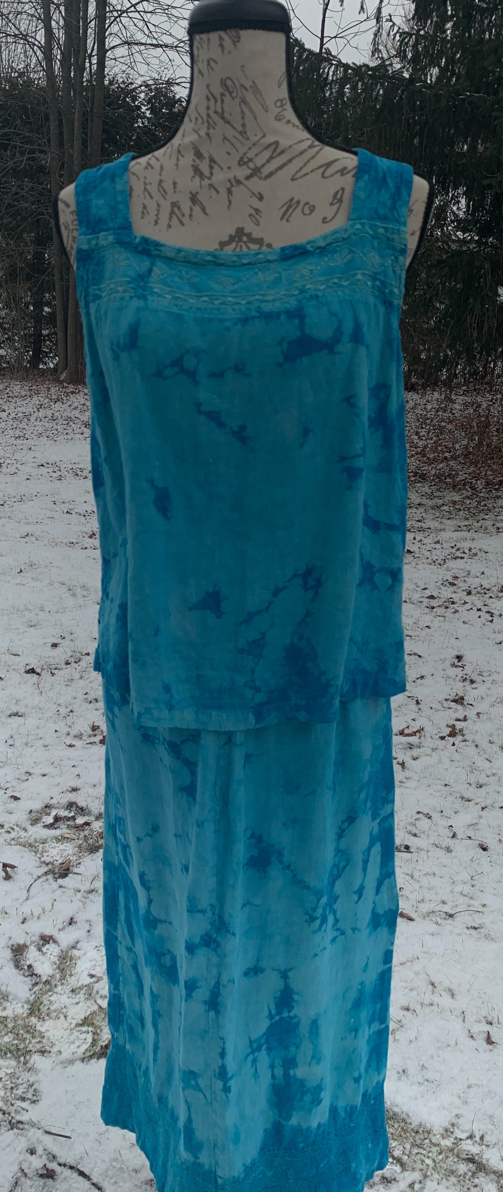 Tie Dye. Linen, Long Skirt, Tank, Jacket. Size- Small. Peacock Blue