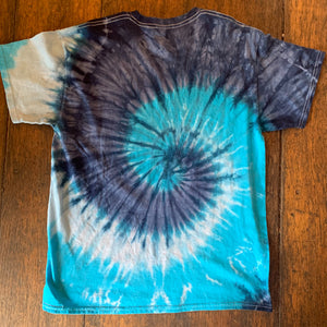 Back of Navy/Turquoise Spiral T-Shirt