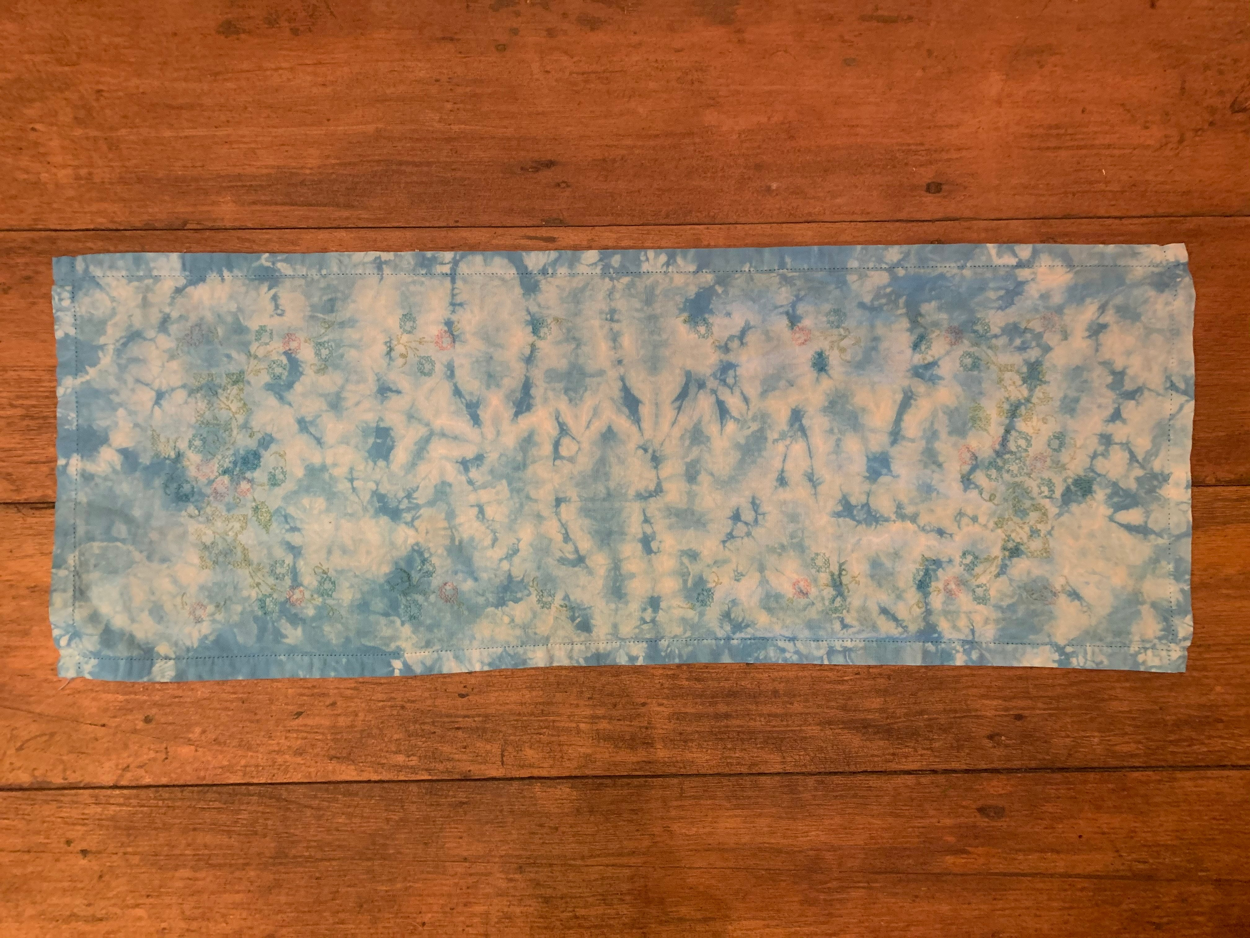 Tie Dye, Table Runner, Light Blue, Floral Embroidery.