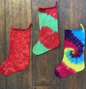 Tie Dye Christmas Stocking, Colors: Turquoise/Purple/Lime, Red/Green, Grinch Green, Red crinkle, Rainbow