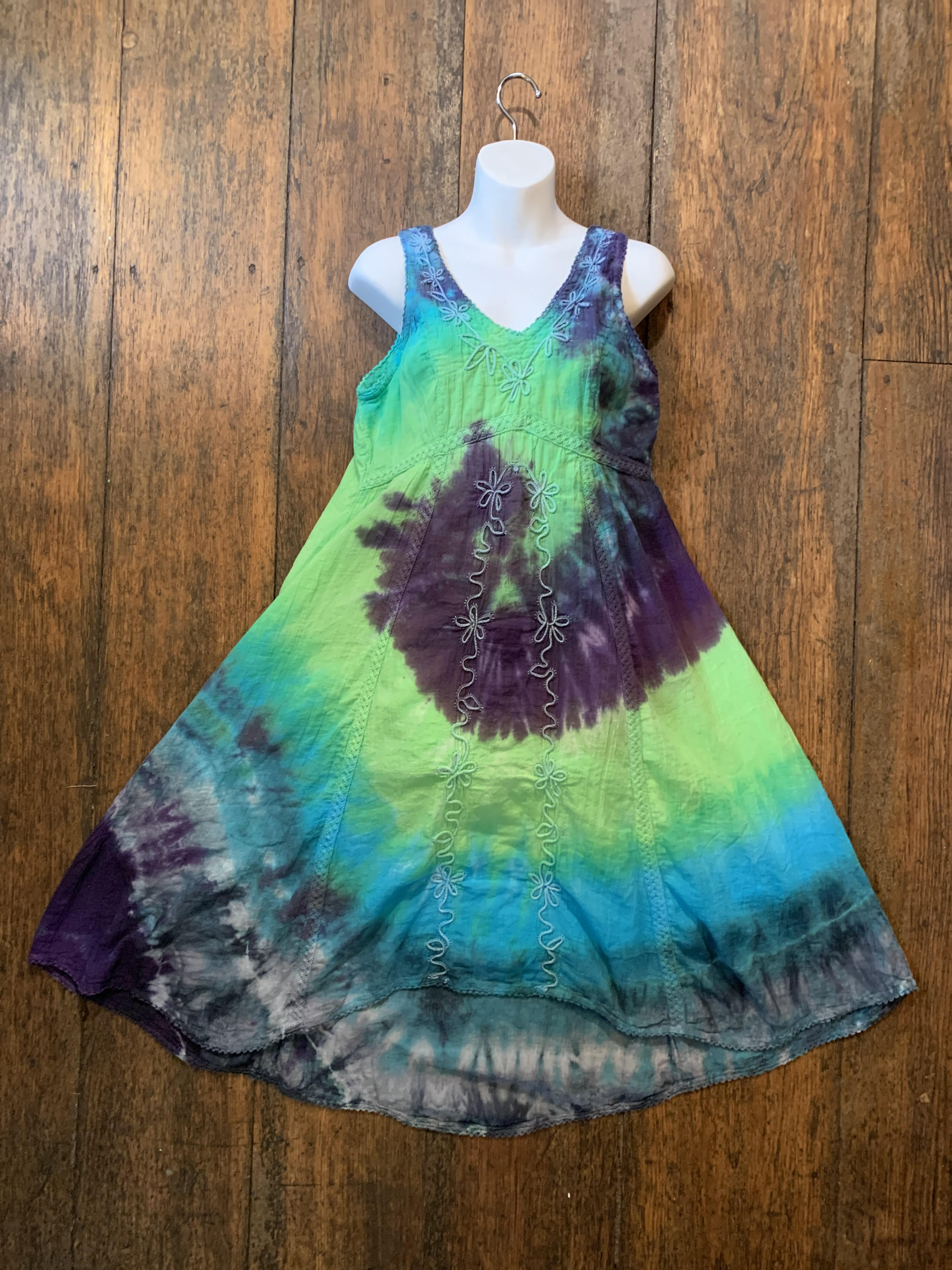 Indian Cotton, Lined, Tie Dye Sundress