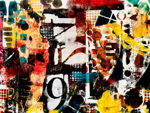 9 to 5 mixed media painting with numbers