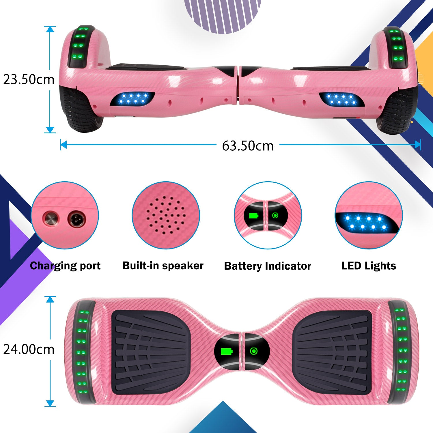 YHR 6.5 Inch Hoverboard with Bluetooth W/Speaker, LED Wheels and LED Lights for Kids and Adult - Carbon fiber