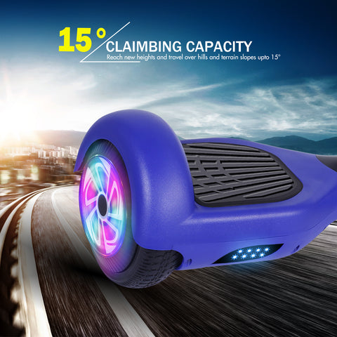 YHR 6.5 Inch Hoverboard with LED Wheels and LED Lights for Kids and Adult - no bluetooth