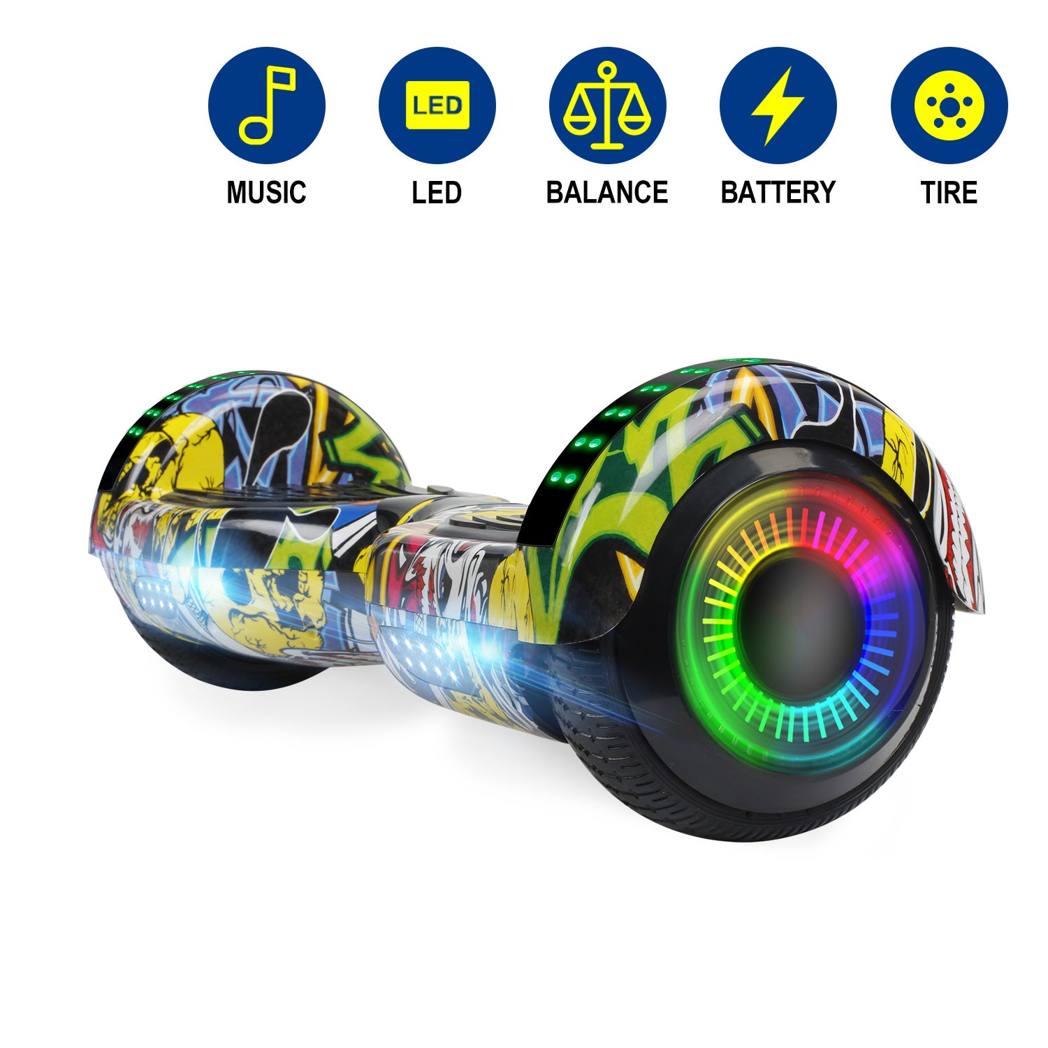 YHR 6.5 Inch Hoverboard with Bluetooth W/Speaker, LED Wheels and LED Lights for Kids and Adult- Fun series