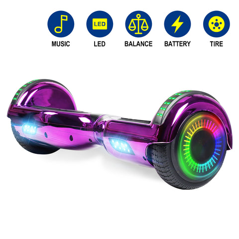 YHR 6.5 Inch Hoverboard with Bluetooth W/Speaker, LED Wheels and LED Lights for Kids and Adult - Plating color