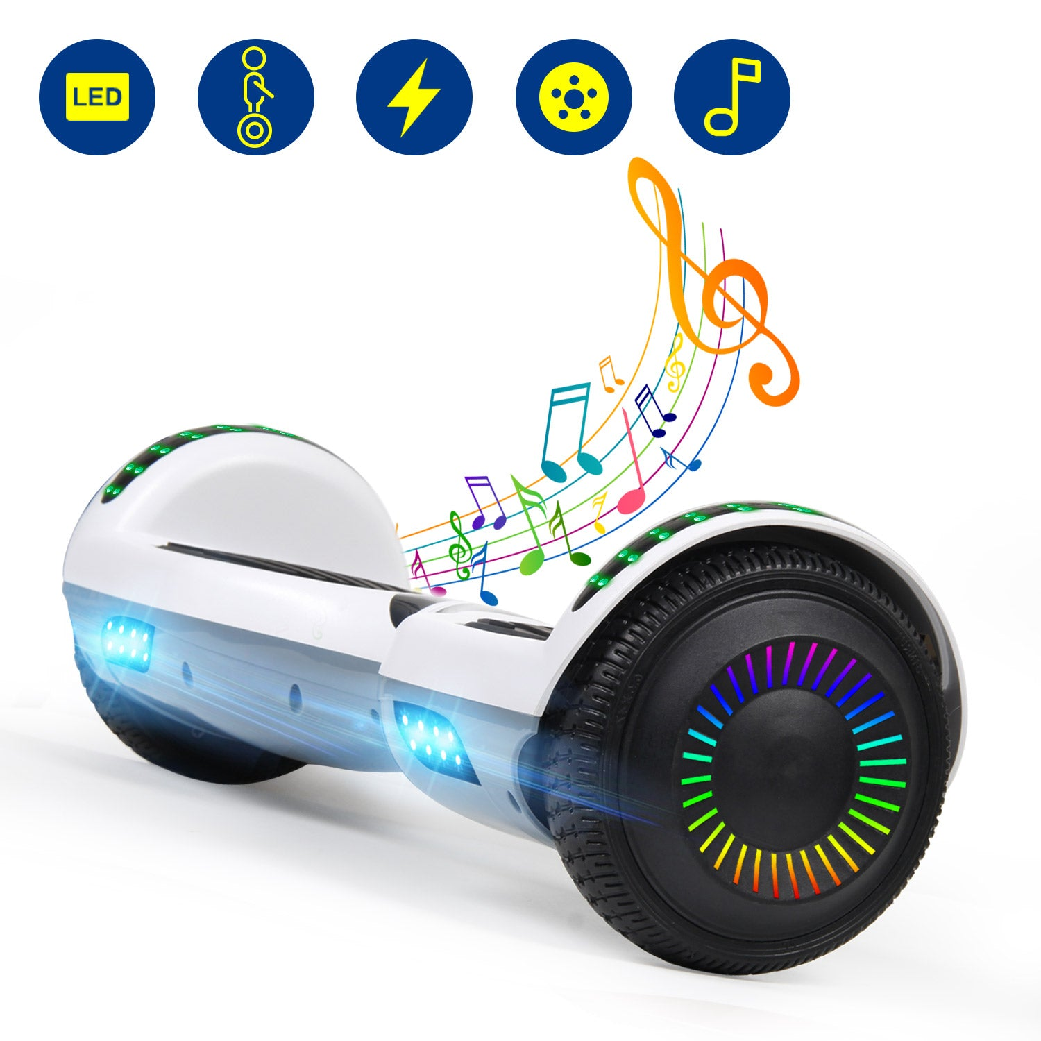 YHR 6.5 Inch Hoverboard with Bluetooth W/Speaker, LED Wheels and LED Lights for Kids and Adult- Two colors