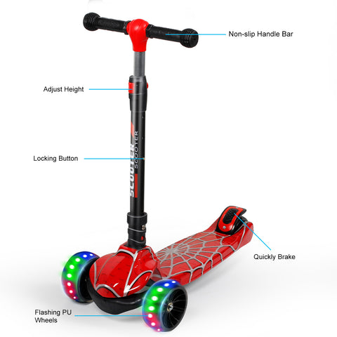YHR Toddler Scooter  - Kick Scooter for Kids 2-8 Year Old boy & Girl - Spider pattern